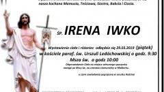 Zmarła Irena Iwko. Żyła 86 lat.