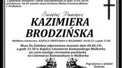 Zmarła Kazimiera Brodzińska. Żyła 83 lata.