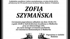 Zmarła Zofia Szymańska. Żyła 90 lat.