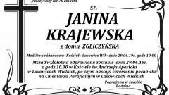 Zmarła Janina Krajewska. Żyła 76 lat.