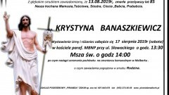Zmarła Krystyna Banaszkiewicz. Żyła 85 lat.