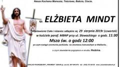 Zmarła Elżbieta Mindt. Żyła 72 lata.