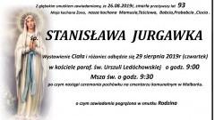 Zmarła Stanisława Jurgawka. Żyła 93 lata.