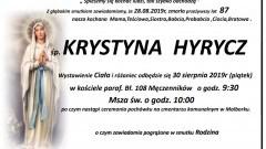 Zmarła Krystyna Hyrycz. Żyła 87 lat.