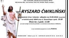 Zmarł Ryszard Ćwikliński. Żył 70 lat.