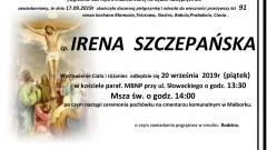 Zmarła Irena Szczepańska. Żyła 91 lat