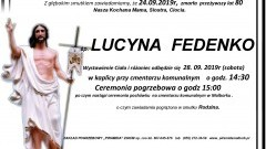Zmarła Lucyna Fedenko. Żyła 80 lat.