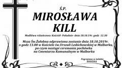 Zmarła Mirosława Kill. Żyła 79 lat.