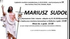 Zmarł Mariusz Sudoł. Żył 59 lat.