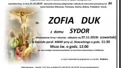 Zmarła Zofia Duk. Żyła 84 lata.