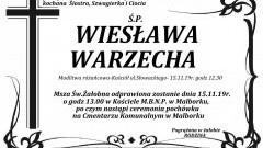 Zmarła Wiesława Warzecha. Żyła 61 lat.