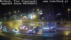 Kolejne zderzenie ciężarówki z osobówką przed mostem w Malborku.