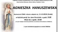 Zmarła Agnieszka Hanuszewska. Żyła 84 lata.