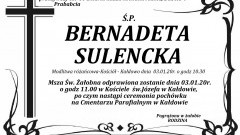 Zmarła Bernadeta Sulencka. Żyła 80 lat.
