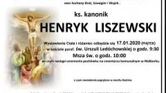 Zmarł ks. kanonik Henryk Liszewski. Żył 84 lata.
