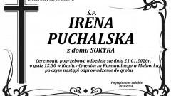 Zmarła Irena Puchalska z domu Sokyra. Żyła 84 lata.