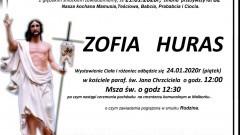 Zmarła Zofia Huras. Żyła 82 lata.