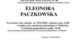 Zmarła Eleonora Paczkowska. Żyła 88 lat.