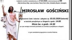 Zmarł Mirosław Gościński. Żył 65 lat.