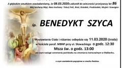 Zmarł Benedykt Szyca. Żył 86 lat.