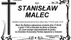 Zmarł Stanisław Malec. Żył 74 lata.