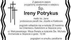 Zmarła Irena Potrykus, matka księdza Jana, proboszcza parafii św. Józefa w Kałdowie. Żyła 95 lat.