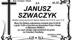Zmarł Janusz Szwaczyk. Żył 67 lat.