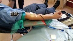 """""""Służymy pomocą – mamy to we krwi"""" - funkcjonariusze Służby Więziennej z Malborka oddali ponad 19 litrów krwi."""