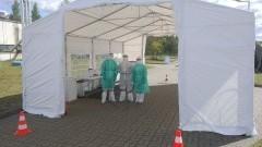 Terytorialsi z Malborka pomagają przy Centrum Diagnostycznym Covid –19 drive thru w Chojnicach.