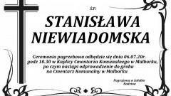 Zmarła Stanisława Niewiadomska. Żyła 86 lat.