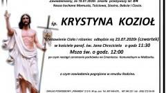 Zmarła Krystyna Kozioł. Żyła 84 lata.