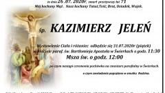 Zmarł Kazimierz Jeleń. Żył 71 lat.