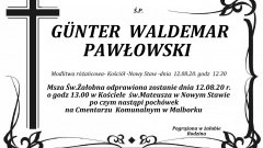 Zmarł Günter Waldemar Pawłowski. Żył 75 lat.