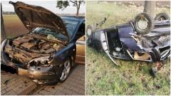 DK22. W wyniku zderzenia jedna z osobówek dachowała do rowu. Kierowcy w szpitalu.