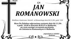Zmarł Jan Romanowski. Żył 67 lat.