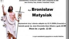 Zmarł Bronisław Matysiak. Żył 85 lat.