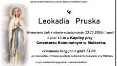 Zmarła Leokadia Pruska. Żyła 85 lat.