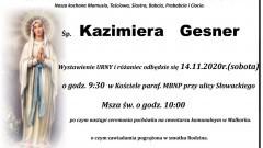 Zmarła Kazimiera Gesner. Żyła 75 lat.