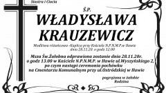 Zmarła Władysława Krauzewicz. Żyła 72 lata.