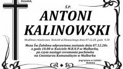 Zmarł Antoni Kalinowski. Żył 71 lat.