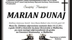 Zmarł Marian Dunaj. Żył 87 lat.