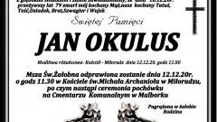 Zmarł Jan Okulus. Żył 79 lat.