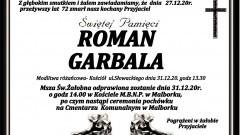 Zmarł Roman Garbala. Żył 72 lata.