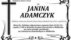 Zmarła Janina Adamczyk. Żyła 89 lat.