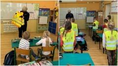 """Malbork. Pierwszoklasiści zapoznali się z zasadami w ruchu drogowym w ramach projektu """"Uczę się bezpieczeństwa""""."""