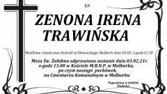 Zmarła Zenona Irena Trawińska. Żyła 66 lat.