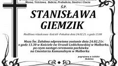 Zmarła Stanisława Giemzik. Żyła 89 lat.