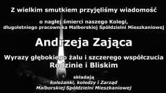 Kondolencje Zarządu i pracowników Malborskiej Spółdzielni Mieszkaniowej.
