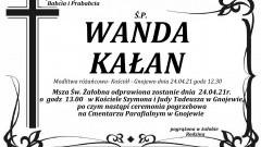 Zmarła Wanda Kałan. Żyła 83 lata.