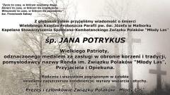 """Kondolencje Prezesa i członków Związku Polaków """"Młody Las""""."""